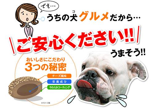 犬康食・ワン プレミアムはチーズ味で美味しいらしい
